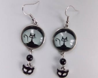 earrings.. .a black cat in the moonlight... .agate