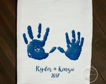 Custom Handprint Tea Towel | Gift for parents | Kids handprints | Kitchen towel | Mothers Day Gift | Christmas Gift | Fathers day Gift |
