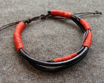 man red brown leather bracelet brick orange made adjustable hand gift