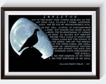 Famous Poem. Invictus. Invictus Poem. Handwritten Font. William Henley. Full Poem. William Ernest. Invictus Poster. poem about life. Poster.