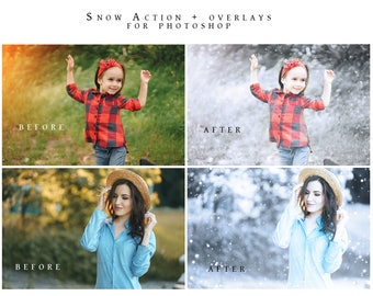Snow Photoshop Action and Overlays   Snow Flurry   Christmas Snow   Holiday Snow