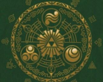 Legend of Zelda cross stitch digital pattern medallion hyrule historia
