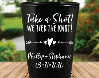 "Custom Personalized ""Take a Shot!"" Black Wedding Favor Shot Glasses"