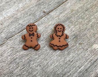 Gingerbread couple stud earrings