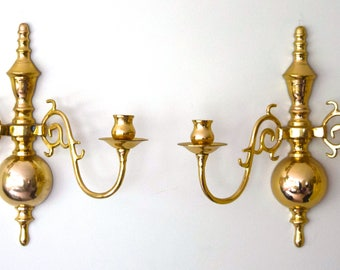 Gorgeous Pair of Brass antique wall-mounted dual candlesticks candleholders excellent!