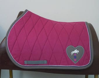 Raspberry Pink All Purpose English Saddle Pad with Horse Heart Embroidery