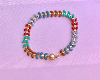 Bracelet fine ear chain gilded in summer colours