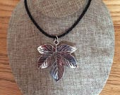 Big silver leaf pendant necklace, leaf necklace, pendant, Made in Canada, jewelry, handmade, Laska Boutique