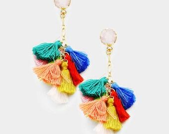 Multi Colored Druzy Tassel Earrings, Multi Tassel Earring