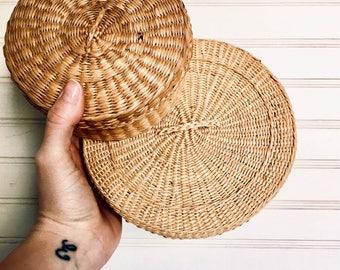 Set of Two - Nestled - Lidded Wicker Baskets