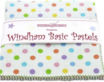 """Windham Basic Pastels Charm Pack by Windham Fabrics - Charm Pack Precuts 42, 5""""x5"""" Squares, Precuts Fabrics, Charm Packs"""