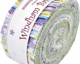 "Basic Pastels 2.5"" Strips by Windham Fabrics, Winham Basic Pastels, Precuts, Jelly Roll Fabric, 100% Cotton, Quilting"