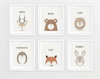 Animal Prints, Baby Animal Prints, Animal Print, Nursery Animal Print, Nursery Prints, Woodland Animals, Animal Nursery, Prints For Nursery