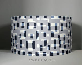 Funky lampshade, Retro Abstract fabric printed in England 40cm drum shade handmade by vivid shades, geometric shapes, stylish and cool