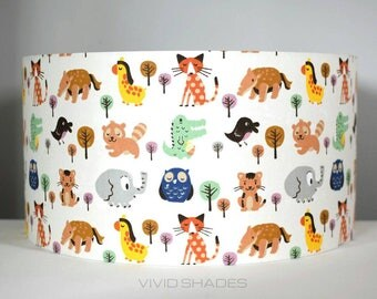 Scandinavian fabric lampshade handmade by vivid shades, modern retro stylish scandi woodland animal pattern owl elephant fox nursery funky
