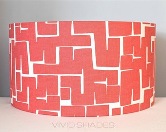 Red geometric fabric lampshade handmade by vivid shades, printed in England, modern abstract light shapes stylish cool funky drum ceiling