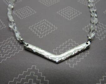 Crystal quartz with hammered silver accent