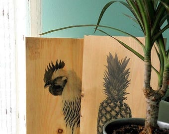 Wood Photo Transfer, Pallet Art, Gift, Pine wood, wall decor, Photo on wood, Pallet Wall Art, Pineapple Art, Picture Frame, Wood, rooster