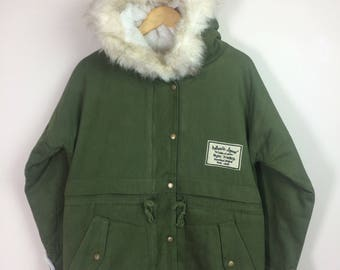 Vintage Parka With Fur Hooded Military Us Army Field Jacket