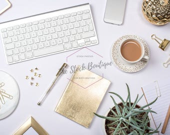 SALE! Styled Photography | Instant Download Stock Photo For Blogs & Social Media | Flat Lay Image White + Gold Stationery Desktop Flatlay
