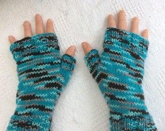 Multi Coloured fingerless mittens