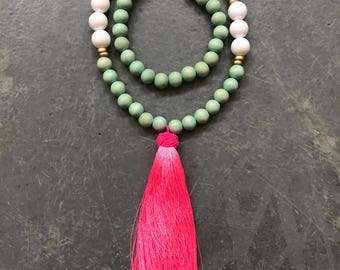 Pineapple charm and Long Tassel necklace