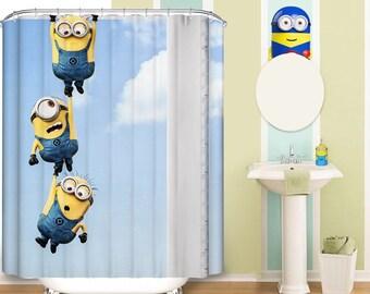 Hanging Minion Pattern Fabric Shower Curtain