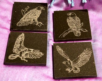 Black Granite Coaster Set, Engraved with Eagles