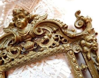 Virctorian Brass Cherub Numbered Picture Frame