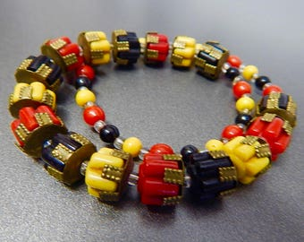 Czech, Red, Yellow, and Black, Art Deco Machine Age, Molded Glass, Necklace