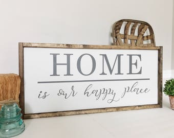 Home Is Our Happy Place Sign, Our Happy Place Sign, Home Sign, Happy Place, Living Room Decor, Entryway Decor, Gift for Mom, Farmhouse Decor