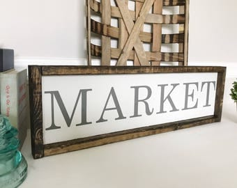 Market Sign, Wood Market Sign, Kitchen Decor, Farmhouse Style, Framed Wood Sign, READY TO SHIP