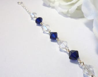 Dark Blue Swarovski Bracelet, Dark Blue Crystal Bracelet, Womens Blue Bracelets, Custom Blue Bracelet, Swarovski Crystal Bridesmaid Bracelet