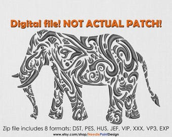 INSTANT DOWNLOAD - Elephant machine embroidery design. Patterned Elephant. Embroidery file
