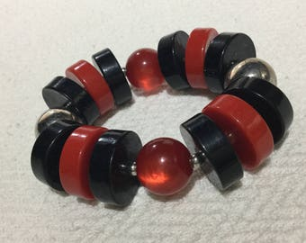 Red And Black Beads Elastic Bracelet