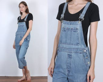 90s Gap Overalls // Vintage Capri Length Denim Overall Pants Blue Jean Womens - Small