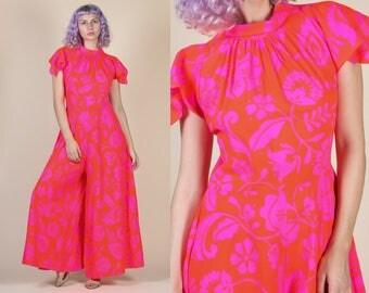 70s Floral Jumpsuit // Vintage Hawaiian Neon Pink Palazzo Wide Leg Disco Pantsuit - Medium to Large