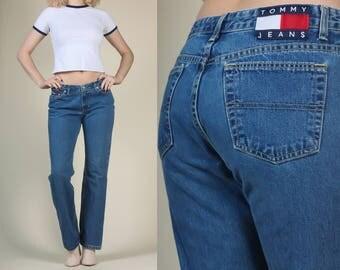 90s Tommy Hilfiger Jeans - Medium // Vintage Mid Rise Denim Straight Leg Pants