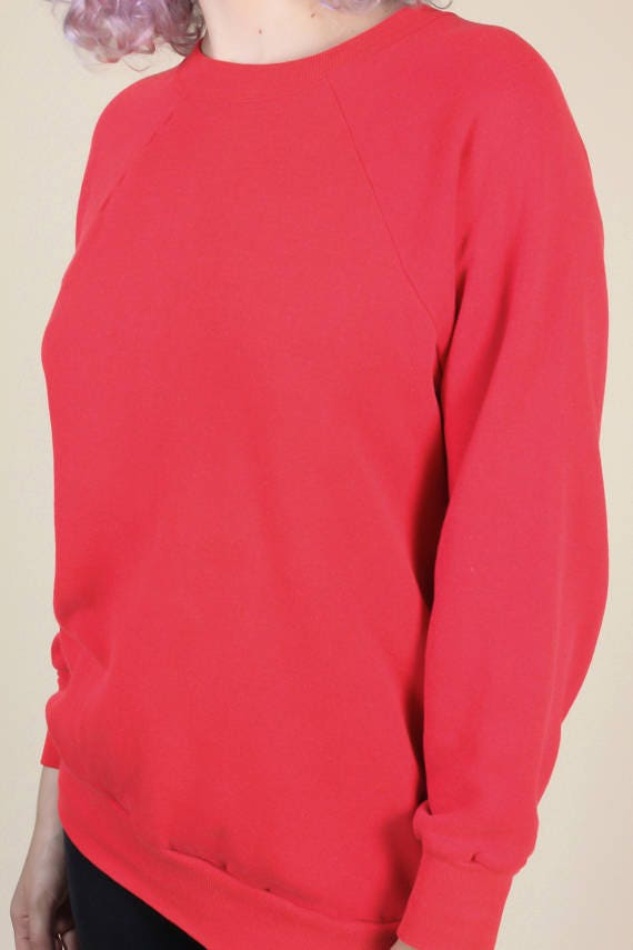 80s Plain Red Sweatshirt // Vintage Retro Raglan Sleeve