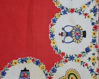 Vintage 1950's Square Tablecloth