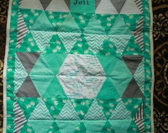 Teal elephant quilt