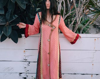Vintage Multi Colored Kaftan, Ornate Beaded Pink Dress