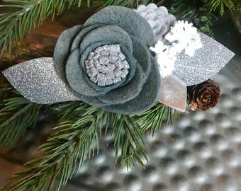 GREY SNOWFLAKE// single flower cluster// felt flower headband