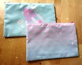 Large cosmetic bag / purse / cases - merbear mermaids and alpaca galaxy