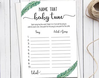 Name that baby tune, name that baby song, Funny Baby shower games, Green Leaves Baby Shower Game, Song Guessing Game, Greenery Games B13