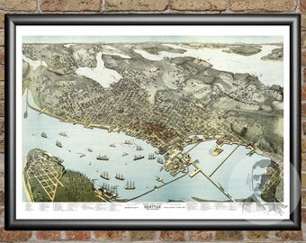 Seattle, Washington Art Print From 1891 - Digitally Restored Old Seattle, WA Map Poster - Perfect For Fans Of Washington History