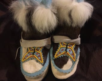 Calfskin handsewn and hand beaded mukluks