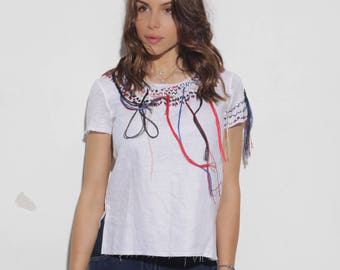Lino t-shirt with handmade elements
