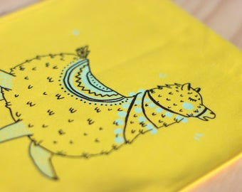 Wall banner 2 colors, festive alpaca, yellow fabric, wall decoration, decoration, gift, baby gift, animal lover
