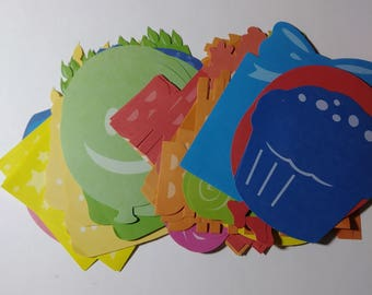 Lot Of 84 New Birthday And Party Diecuts. Blue Yellow Green Pink Red And Orange